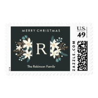 Floral Monogram Photo Merry Christmas Postage