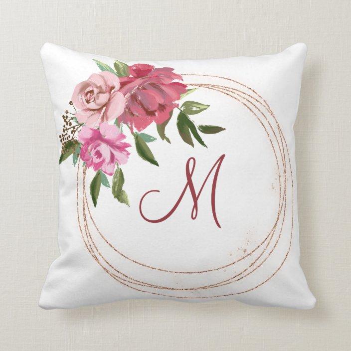 Floral Monogram Round Frame Throw Pillow Zazzle Com