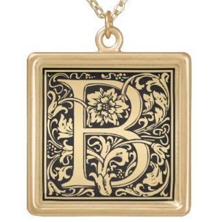 Floral Monogram Sample Letter B Square Pendant Necklace