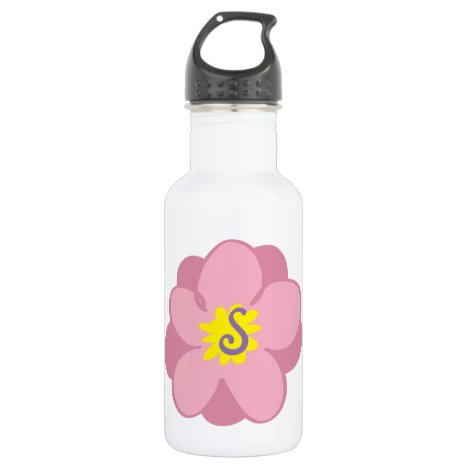 Floral monogram stainless steel water bottle