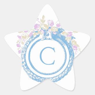 Floral Monogram Star Sticker