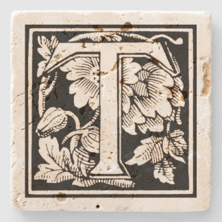 Floral Monogram 'T' in Sepia Square Stone Coaster