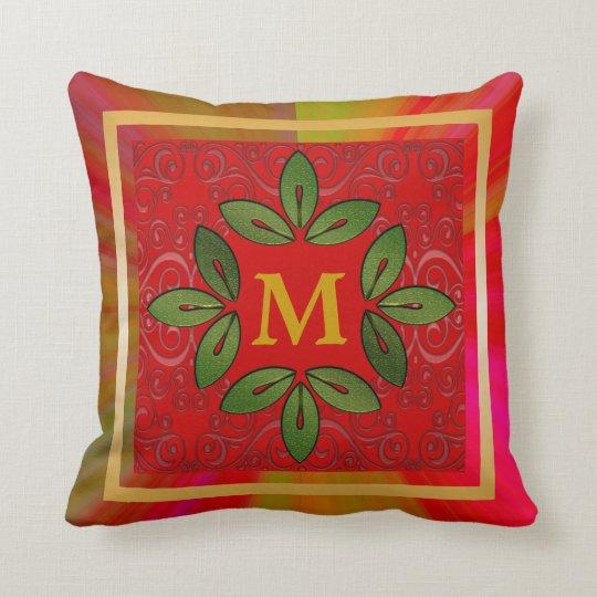 Floral Monogram Throw Pillow