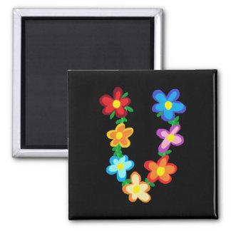 """Floral Monogram """"U"""" Magnet"""