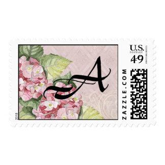Floral Monogram Wedding Postage Pink Hydrangea