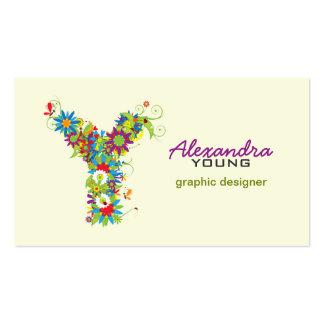 "Floral Monogram ""Y"" Initial Business Card"