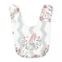 Floral Monograma of feminine roses and chevron Baby Bib