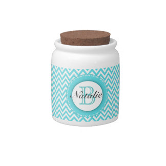 Floral Monogrammed Turquoise Blue Chevron Pattern Candy Jars