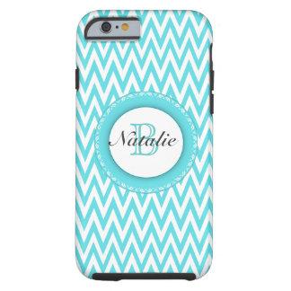 Floral Monogrammed Turquoise Blue Chevron Pattern Tough iPhone 6 Case