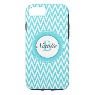Floral Monogrammed Turquoise Blue Chevron Pattern iPhone 8/7 Case