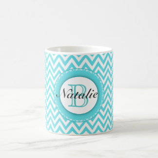 Floral Monogrammed Turquoise Blue Chevron Pattern Mugs