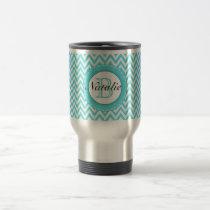 Floral Monogrammed Turquoise Blue Chevron Pattern Travel Mug