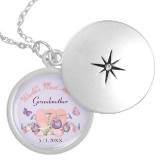 Floral Morning Glory Mothers Day - Grandmother Round Locket Necklace