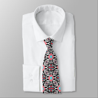 Floral Moroccan Tile, Black, White and Coral Pink Neck Tie