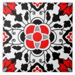 """Floral Moroccan Tile, Deep Red, Black  and White Tile<br><div class=""""desc"""">Ceramic tile in an Art Deco Moroccan tile pattern based on stylized flowers and leaves - deep Chinese red with classic black and white,  accented with silver gray / grey</div>"""