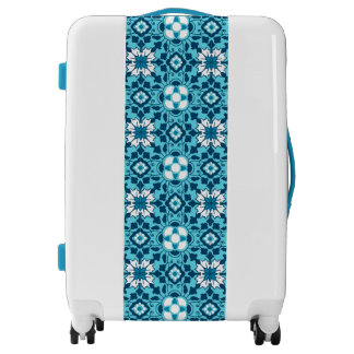 Floral Moroccan Tile, Indigo, Sky Blue and White Luggage