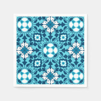Floral Moroccan Tile, Indigo, Sky Blue and White Paper Napkin