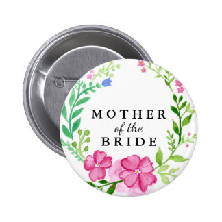 Floral Mother of the Bride Wedding Button