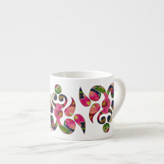 Floral Motif Espresso Mug 6 Oz Ceramic Espresso Cup
