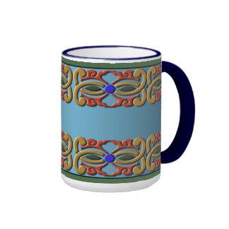 Floral Motif Ringer Coffee Mug
