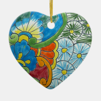 Floral motive Double-Sided heart ceramic christmas ornament