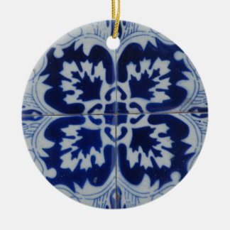 Floral motive Double-Sided ceramic round christmas ornament