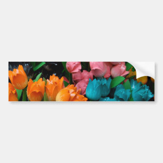 Floral Multi colored tulips Flower gifts Bumper Sticker