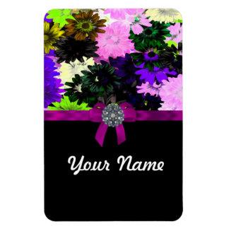 Floral multicolor rectangle magnet