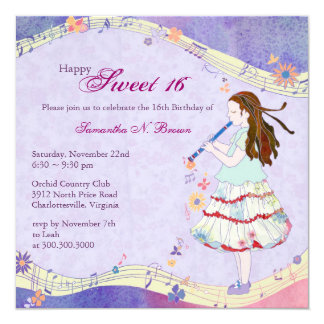 Floral Muse Sweet 16th Birthday Party Invitations