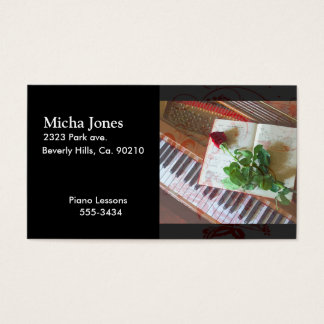 Floral Music Book Rose On Piano Business Card