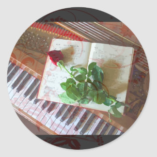 Floral Music Book Rose On Piano Classic Round Sticker