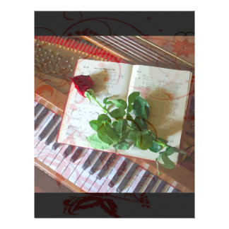Floral Music Book Rose On Piano Flyer