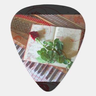 Floral Music Book Rose On Piano Guitar Pick
