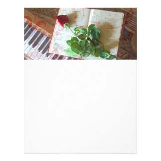 Floral Music Book Rose On Piano Letterhead