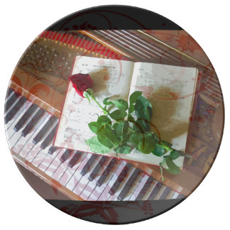 Floral Music Book Rose On Piano Porcelain Plate