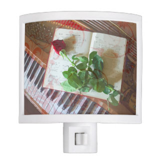 Floral Music Book Rose On Piano Night Light