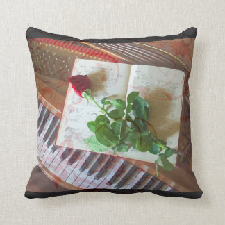 Floral Music Book Rose On Piano Pillow
