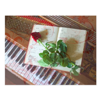 Floral Music Book Rose On Piano Postcard