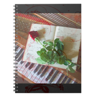 Floral Music Book Rose On Piano Spiral Notebook