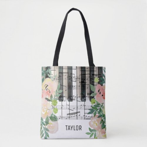 floral music notes piano tote bag
