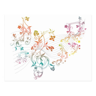 Floral Music Notes Postcard