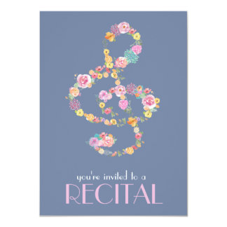 floral music treble clef card