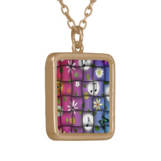 Floral Musical Plaid Gold Plated Necklace