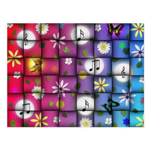 Floral Musical Plaid Post Card