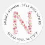 Floral N Initial Monogram Return Address Sticker