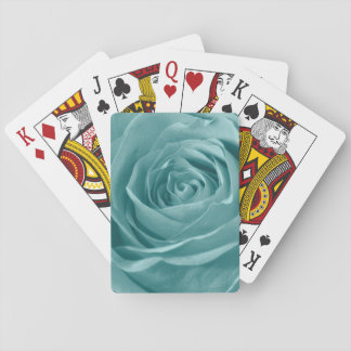 Floral Nature Abstract  Photo Vibrant Aqua Rose Playing Cards