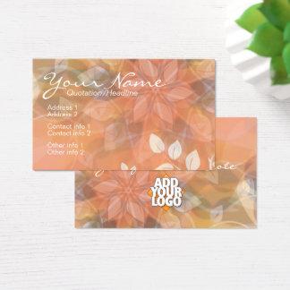 Floral Nature Orange + Logo Business Card template