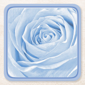 Floral Nature Photo Dainty Light Blue Rose Square Paper Coaster