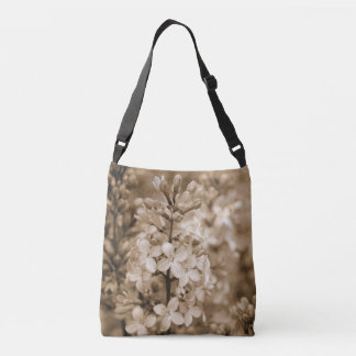 Floral Nature Photo Sepia Lilacs Cross Body Bag