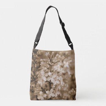 Beach Themed Floral Nature Photo Sepia Lilacs Cross Body Bag